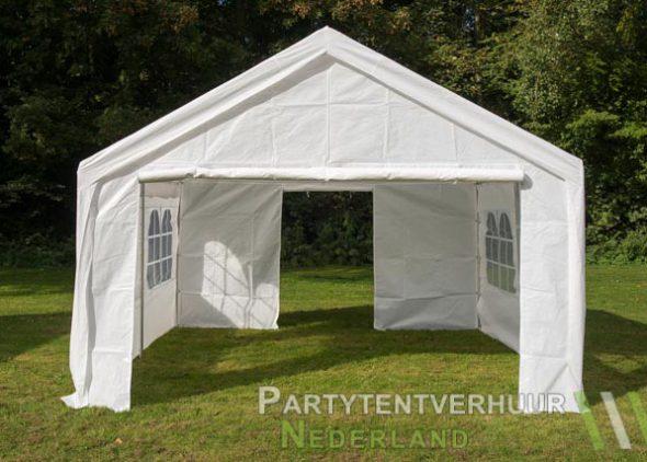 Partytent 4x4 meter voorkant met deur open huren - Partytentverhuur Almere