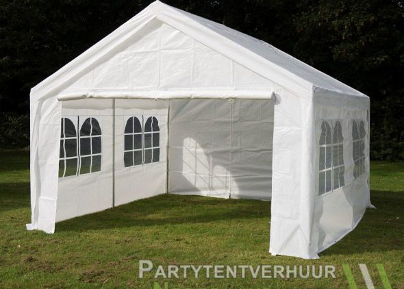 Partytent 4x4 meter voorkant schuin huren - Partytentverhuur Almere