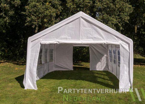 Partytent 4x8 meter voorkant met deur huren - Partytentverhuur Almere