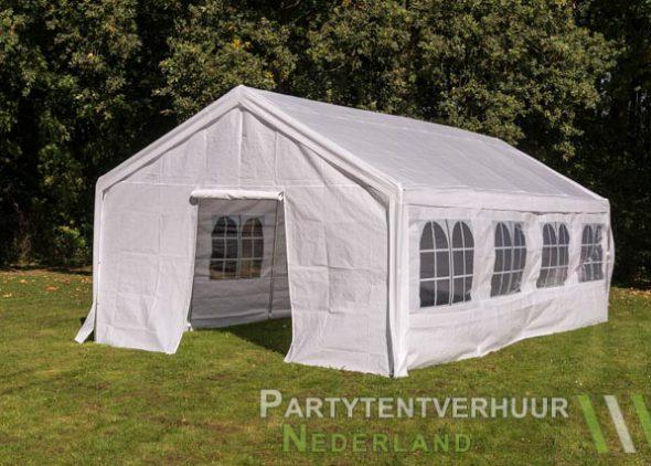 Partytent 4x8 meter voorkant schuin met deur huren - Partytentverhuur Almere